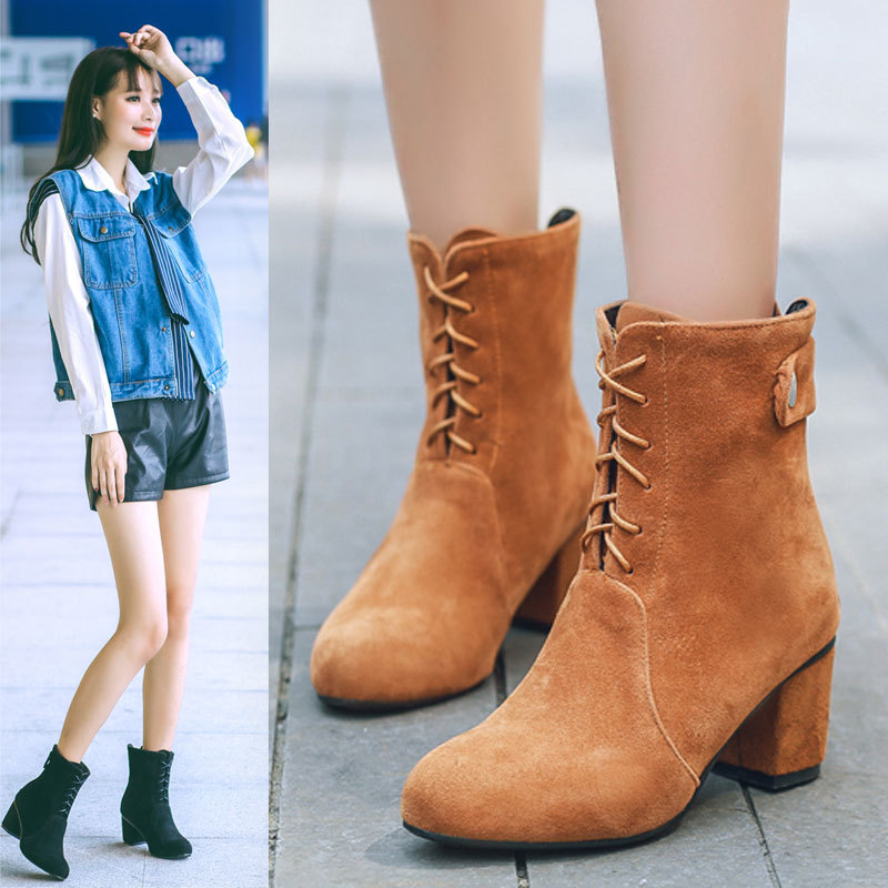 2016 New Fashion Frosted Velvet Autumn And Winter Lace Up Ankle Boots With Thick Heel Women British Knight Shoes Black Booties<br><br>Aliexpress