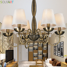 SOLFART lamp branch chandelier fabric shade  bronze copper color metal arm classical retro european style chandelier TD8011