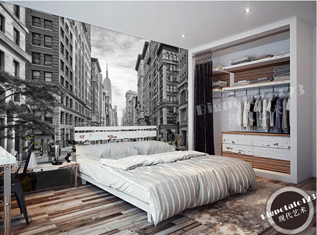 The custom 3D murals,New York Wall Street America modern black and white building ,living room sofa TV wall bedroom wall paper<br>