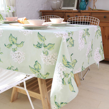 Pastoral Fresh Flower Printed Green Table Cloth Cotton Rectangular Tablecloths Wedding Party Toalha De Mesa