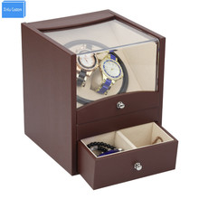 Automatic watch winder in watch box 2 motor box for watches mechanism cases with drawer storage send by DHL Shipping Fast(China)