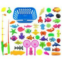 40/50pcs Magnetic Fishing Toy Game Kids 3D Fish Fishing Rod Baby Bath Toys Outdoor Funny Toy Set(China)