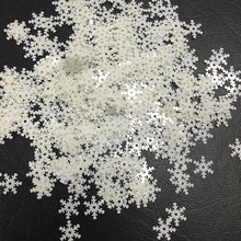 100pcs/lot 10mm Snowflake PVC Sequins With 1 Center Hole Christmas Gift DIY Clothes Navidad Ornaments White Snow