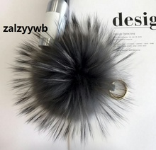 zalzyywb 18CM Pompon key chain of real Raccoon fur Keychain for cell phone pendant ring car key rings and handbag charm pendant