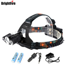 Brightfire 9000 Lumens 3 LED Headlight XM-L T6 Head Lamp High Power LED Headlamp +2*18650 Battery +Charger+Car Charger(China)