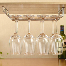 1pcs Wine cup wine glass holder Hanging Drinking Glasses Stemware Rack Under Cabinet Storage Organizer Double Row for Household(China)
