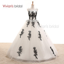 In Stock Black And White Wedding Dress Ball Gown Sleeveless Sequin Tulle Lace Wedding Bridal Gown