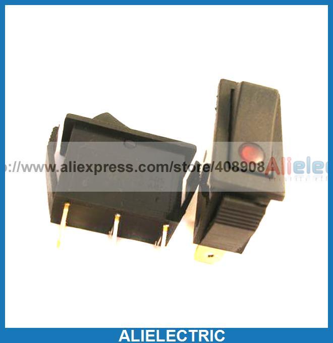 50 PCS  x Red illuminated 12A 125v 15A 250v Rocker SWITCH R1C<br><br>Aliexpress