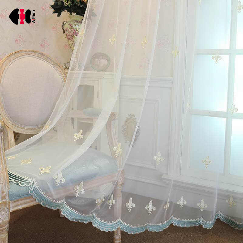 Luxury European Embroidered Voile Curtain for Bedroom Delicate Sheer Rural Villa New Home French Window Cortinas JS36C