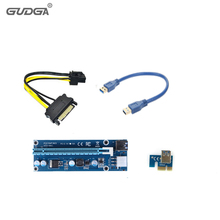 10Pcs/Lot 30cm 006C PCI-E PCIE Express Riser Card 1x to 16x SATA 6pin Power Supply with USB 3.0 Data Cable For BTC Miner Machine(China)