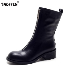 Buy TAOFFEN Winter Women Boots Genuine Real Leather Round Toe Zipper Half Boots Female Sqaure Heel Botas Mujer Women Shoe Size 34-39 for $56.98 in AliExpress store