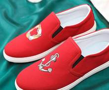 Spring tide men s red canvas shoes trend breathable old Beijing flat  personality men s shoes HAP1- 8bda691db636