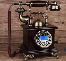 Retro ringing tones antique telephone american vintage household oak corded phone(China)