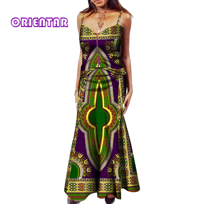 Women Sexy Crop Top and Skirt Sets Bazin Riche Classic African Print Women 2 Pieces Sets Vest Top Long Skirts Party Dress WY472