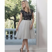 af0593812f Black Short Modest Bridesmaid Dresses With Cap Sleeves Ball Gown Vintage  Lace Informal Cute Women Informal