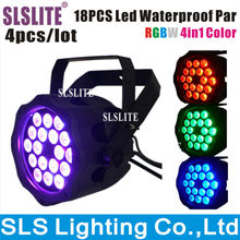 4pcs/lot outdoor led par 64 18pcs 4in1 Waterproof Led Par/ RGBW LED Par Light IP65 DMX512 led stage par light