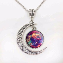 Silver Jewelry Galaxy Star Glass Cabochon Art Image Pendant Necklace Half Moon Chain Necklace for Women  Gifts