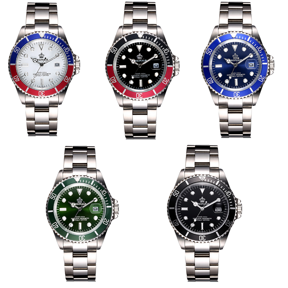 Luxury Reginald Watch Men Rotatable Bezel GMT Sapphire Glass Date Stainless Steel Women Mens Sport Quartz Watches Reloj Hombre<br>