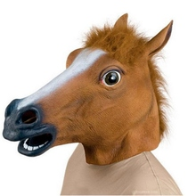Halloween Rubber Costume Creepy Horse Head Mask Theater Prop Latex Novelty