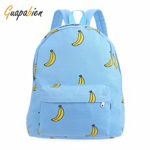 Guapabien Korean Banana Print Women Backpacks Girl Mustache Canvas Back Pack Travel School Bags Fashion Rucksack Small Backpack