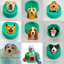 1pcs cartoon Dog head silicone soap mold animal moldes fondant cupcake baking tools sugarcraft pastry mould bakeware