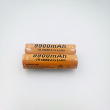 18650 battery 3.7V 9900mAh rechargeable liion battery for Led flashlight Torch batery litio battery+ Free Shipping