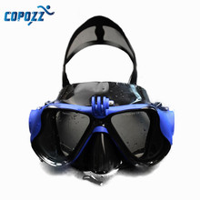 2017 New Arrival Copozz  Anti-fog Diving Goggles Snorkeling Goggles Mask Eyewear Tempered Glass Lens For Gopro Camera Adult