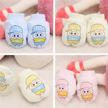 Baby Mittens 2016 Fashion Child Cotton Cartoon Pattern Anti Scratching Baby Gloves 3 Colors Newborn Boys and Girls Protect Glove
