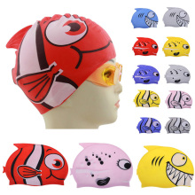 2017 New Children's Cartoon Fish Swimming Cap Silicon Waterproof Protect Ear Shark Shape Swim Pool Hat Children Caps 22*18cm(China)