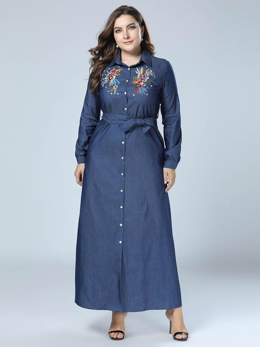 c27f597be3 TUHAO Women s Clothing Factory Embroidered Denim Dresses Shirt Dress Plus  Size 4XL 3XL Long Sleeve Elegant Maxi Long Dresses ZZL