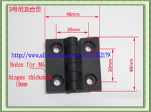 10PC/lot ABS engineering plastic nylon hinge 48*48mm black industrial jumbo durable hinges free shipping(China)