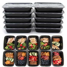 1 Compartment Reusable Plastic Food Storage Containers With Lids Food Storage Box Microwave And Dishwasher Safe Bento Lunch Box(China)