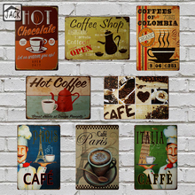ITALIA PARIS Hot Coffe Painting 8X12inch Vintage Poster Metal Tin Signs Advertising Cafe Shop Bar Home Kitchen Wall Decor Plaque(China)