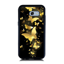 for Samsung A5 A7 2017 Case Black Gold Butterfly Print Case Soft Rubber Hard PC Cellphone Cover for Galaxy A3 A5 A7 2016 Cases(China)