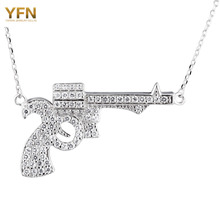 YFN Genuine 925 Sterling Silver Jewelry Crystal Gun Pendant Necklace Fashion Jewelry Cubic Zirconia Statement NecklaceGNX8813