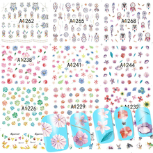 48 Sheets/Sets Water Nail Art Tips Mixed Designs Flower/Animal Sticker Decals Nail Tattoos Beauty Decorations A1225-1272