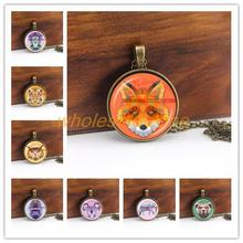 1pcs/lot Rainbow color animal Art photo Pendant Necklace,Wolf/fox/panda/owl/Tiger/lion/deer necklace,fashion Jewelry