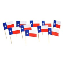 Free Shipping Texas State Flag 20000Pcs Paper Food Picks Dinner Cake Toothpicks Cupcake Decoration Fruit Cocktail Sticks