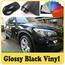 High Gloss Black Vinyl Glossy Film Car Wrapping Sticker Film Self Adhesive Sheet Rolls 1.52*30M/Roll