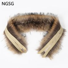 NGSG 70cm real fur raccoon collar for coat hooded nateral raccoon hat collar winter fur scarf genuine fur fox scarves 9012(China)