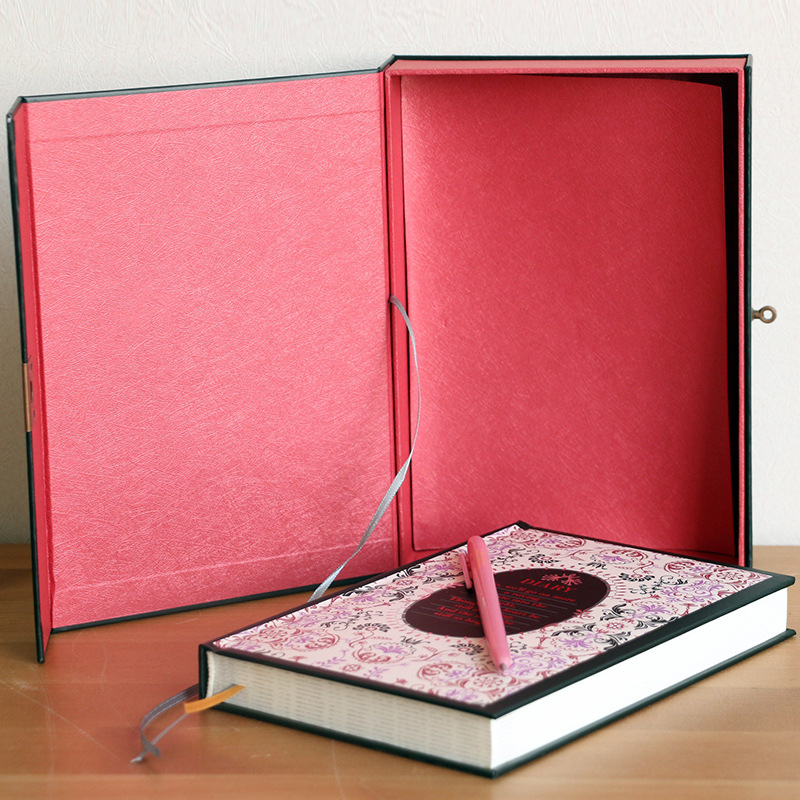 Floral Secret Life Boxed Diary Journal Book With A Lock Hardcover Case Box Outside Big Size Notebook Super Volume 200page Book<br>