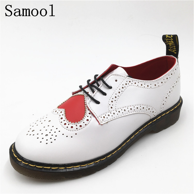 Women Falt Walking Sneakers Summer British Round Toe Heart Carved Lace Bullock Shoes Leather Vintage Spring Oxford Shoes fx4<br>