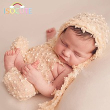 ISOCUTE Colorful Newborn Baby Photography Prop Hat With Trousers Hand Crochet Knitted Outfit Infant Baby Clothes Set Photo Props