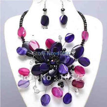 Bejeweled Purple & Pink Semi Precious Chunky Flower Necklace Set Wholesale Costume Jewelry New Free Shipping FN752
