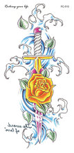 FC2510 Large Shoulder Tattoos Sticker Body Art Yellow Rose Sword Decorative Design Water Transfer Women's Fake Tattoo Stickers