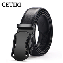 CETIRI Men's Top Cowhide Genuine Leather Ratchet Dress Automatic Buckle Belt Luxury Belts Business Belts For Men Girdle Cinto(China)