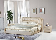 Bedroom furniture king size large soft bed leather comfortable bed B227(China)