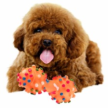 TAILUP 2017 New Pet supplies Pet Dog Cat Puppy Colorful Sound Polka Dot Squeaky Rubber Dumbbell Chewing Toy(China)