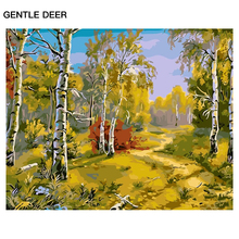 "GENTLE DEER Fall Scenery Oil Painting By Numbers Art Canvas""Harvest season""Pictures DIY Oil Painting By Numbers Wall Decor PMD23"