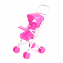 Pink Baby Stroller Trolley Dolls Accessories Assemble Baby Carriage Doll Furniture Kid Play House Toy For Girls Kid Children(China)